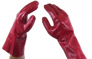 Gloves Red PVC open cuff x 12